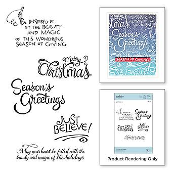 Spellbinders Christmas Sentiments Stamps Zenspired Holidays Collection by Joanne Fink