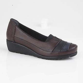 Mod Comfys Samira Ladies Multi Leather Casual Shoes Burgundy