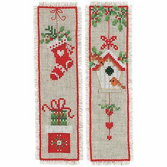 Vervaco gezählt Kreuzstich Kit: Lesezeichen: Weihnachten Motiv: Set von 2
