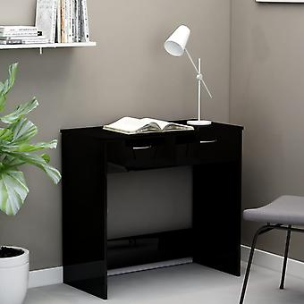 vidaXL Bureau noir brillant 80×40×75 cm panneau de particules