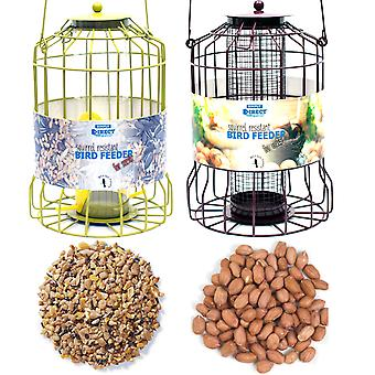 1 x Pair of Simply Direct Squirrel Guard Hanging Nut and Seed Feeders with 1KG bag of Mixed Seeds and 1KG Bag of Peanut Feed for Wild Garden Birds