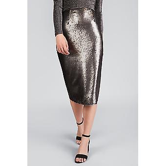 Louche Leana Sequin Skirt Silver-8