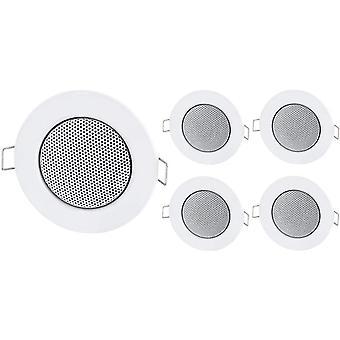 FengChun 5er Pack - Einbau Mini Lautsprecher Vollmetall Deckenlautsprecher - Halogen-Design - Weiss