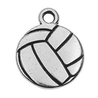 Final Sale - TierraCast Pewter Charm, 2-Sided Volleyball 19x15.4mm, 1 Piece, Antiqued Silver Plated