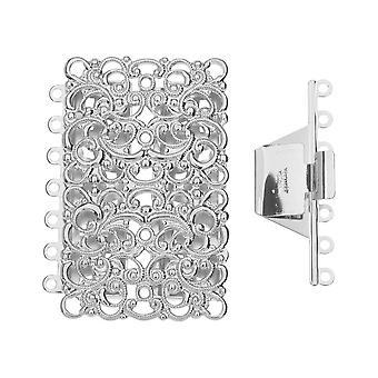 Elegant Elements, 7-Strand Filigree Rectangle Box Clasp 43x33mm, 1 Set, Rhodium Plated