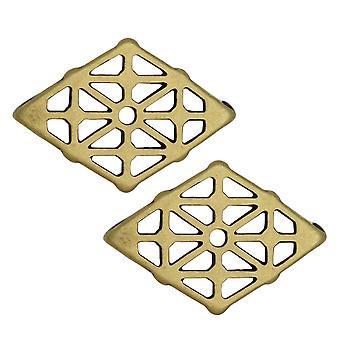 """מחבר מצילתי מתאים חרוזי Gemduo, שיא, בצורת יהלום 19.5 מ""""מ, 2 חתיכות, מצופה פליז עתיק"""