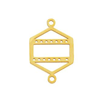 Final Sale - Centerline Beadable Connector Link, Hexagon Shape with Cutout and Holes 23x15mm,  Gold Plated