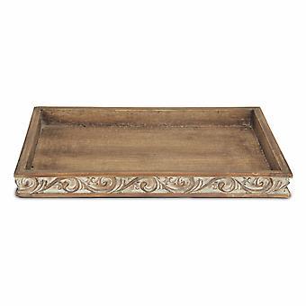 Bandeja de madera de acabado angustiado con tallas laterales