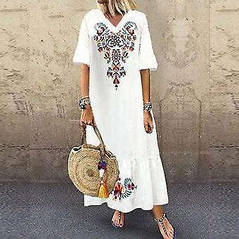 Moda V Boyun Kısa Kollu Çiçek Baskı Boho Plaj Elbise