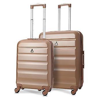 Ensemble de bagages à bagages à coque dure léger Aerolite (cabine et milieu, or rose)