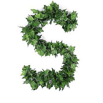 90Pcs 2.4m boston ivy fake garland greenery decor faux green hanging plant vine x1444
