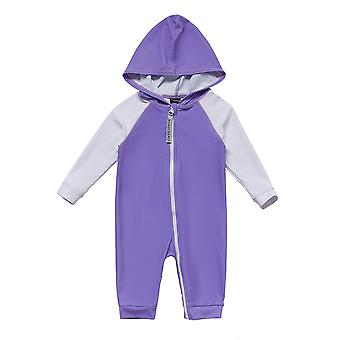 Baby Girls One Piece Hooded Swimsuits UPF 50+ Sun Protection 3/4 Sleeves Full-zip Sunsuit