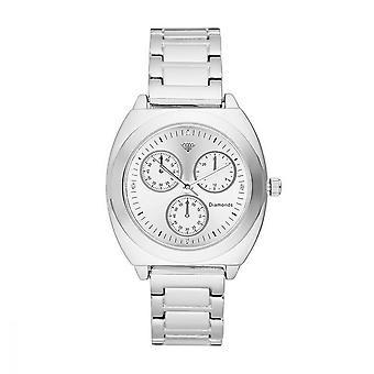 Dames Watch Lily Diamonds 0.012 karaat - Witte wijzerplaat Zilveren metalen armband