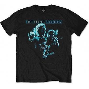 rullende steiner band glød svart menns t skjorte: medium