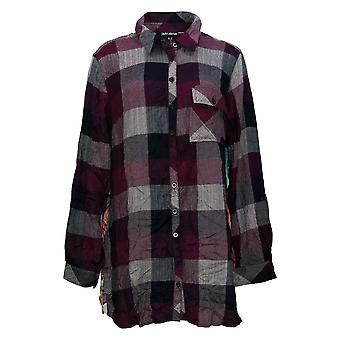Tolani Collection Women's Top XL Regular Plaid Tunic Print Red A383438