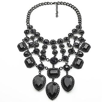 Femei Colier Multistrat Tassel Black Crystal Gemstone Aliaj pentru petrecere