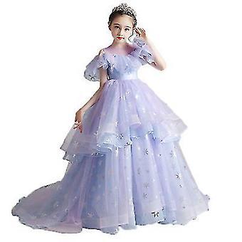 Children's Catwalk Costume Fluffy Princess Dress Little Host Tail Dress(100cm)