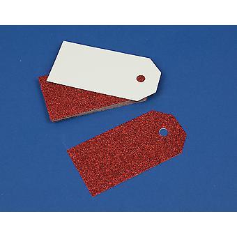 15 Red Luxury Glitter 10cm Tags pour l'artisanat et l'emballage cadeau