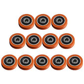 Nylon Round Groove Guia rolo rolamento roldana roda laranja pacote de 12