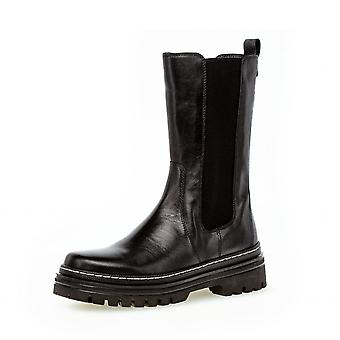 Gabor Gaby Fashion Mid Calf Leather Chelsea Boots In Black