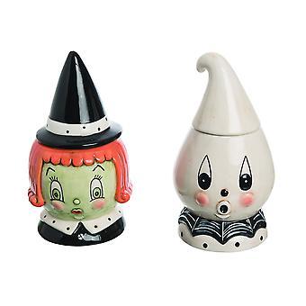 Johanna Parker Designs Ceramic Vintage Halloween Witch and Ghost Candy Jar Set
