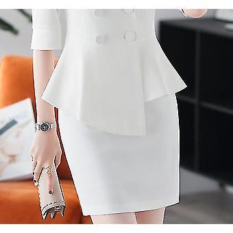 Professional Womenins Pants Suit Set Spring And Summer Blazer Slim Skirt