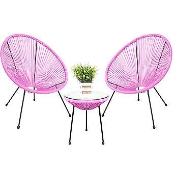 Egg Designer Bistro Patio Furniture Set, 2 chaises et 1 table, rose