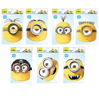 Minions Official 2D Card Party Fancy Dress Masks Variety 7 Pack