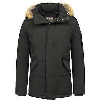 Fur coats - Winter coat Lang - Small Fur Collar - Parka Diamonds - Black Brown