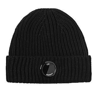 C. P. Company C.p. Company Mac272a Merino Wool Sticka Extra Fine Single Lens Beanie Hat - Svart