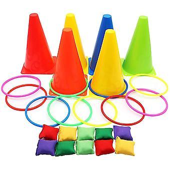 3 In 1 Carnaval Games Set, Cones Bean Bags Ring Toss Games