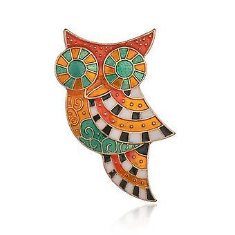 Rhinestone Drip Oil Masek Owl Trench Coat Cardigan Brooch