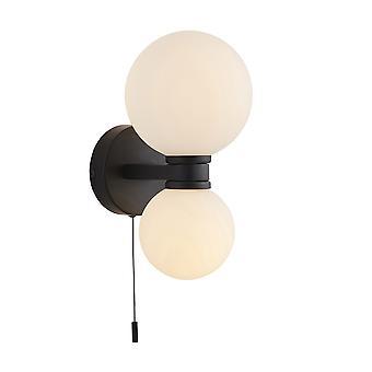 Endon Pulsa Bathroom Globe Twin Wall Light Matt Black with Pull Cord Switch, IP44