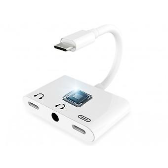 Usb C Adapter 3 In 1 Audio Aux Headphone+fast Charge Type-c Splitter