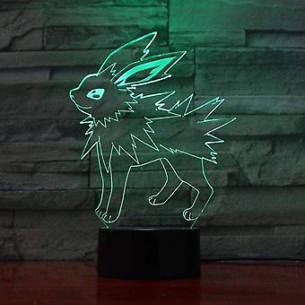 Enfants Cadeau Anime Pikachu Night Light Touch Sensor Chambre 3d Illusion Night Light Ledanime Lampe Colorée Télécommande Night Light Home Gadgets