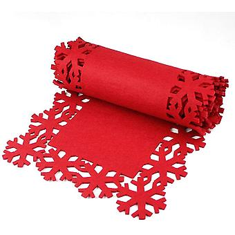 חג המולד אדום פתית שלג ארוחת ערב שולחן רץ פלסמטס תחתיות