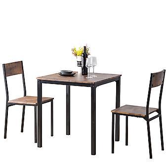 ダイニングテーブルと2椅子木製スチールフレーム