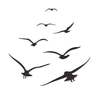 Black Seagull Adesivi da parete Decalcomanie Home Sfondo Pasta decorativa