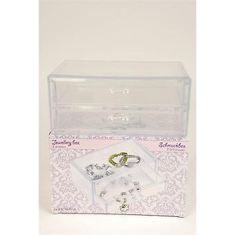 2 Drawer Jewellery Storage Box made from Clear Plastic