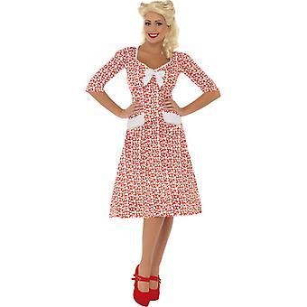 50ies biały damski strój sukienka 40s 50s serce sukienka czerwony