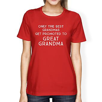 Promoted To Great Grandma Announcement Tshirt Womens Red Tee Shirt