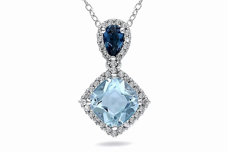 Affici Sterling Silver Pendant with Chain 18ct White Gold Plated ~ Blue Topaz & Sapphire CZ Gems