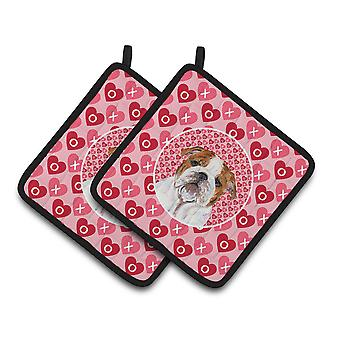Bulldog English Hearts Love Valentine's Day Pair of Pot Holders