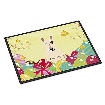 Easter Eggs Bull Terrier White Indoor or Outdoor Mat 18x27