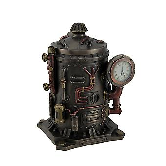 The Mysterious Container Steampunk Style Bronze Finished Desk Clock