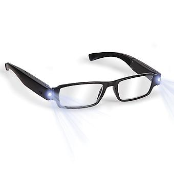 Boolavard® TM Black LED Reading Glasses-presbyopic glasses with LED light Power/Diopter; +3.0