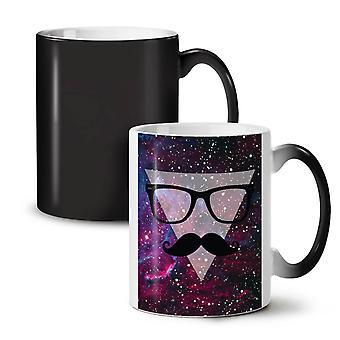 Space Mustache NEW Black Colour Changing Tea Coffee Ceramic Mug 11 oz | Wellcoda