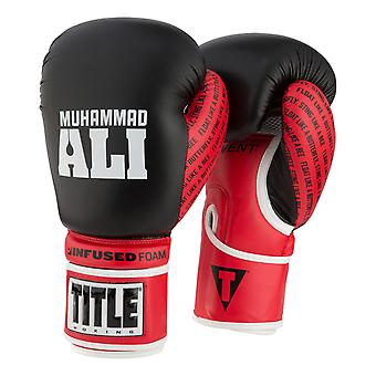 Title Boxing Ali Infused Foam Hook and Loop Boxing Gloves - Black/Red/White
