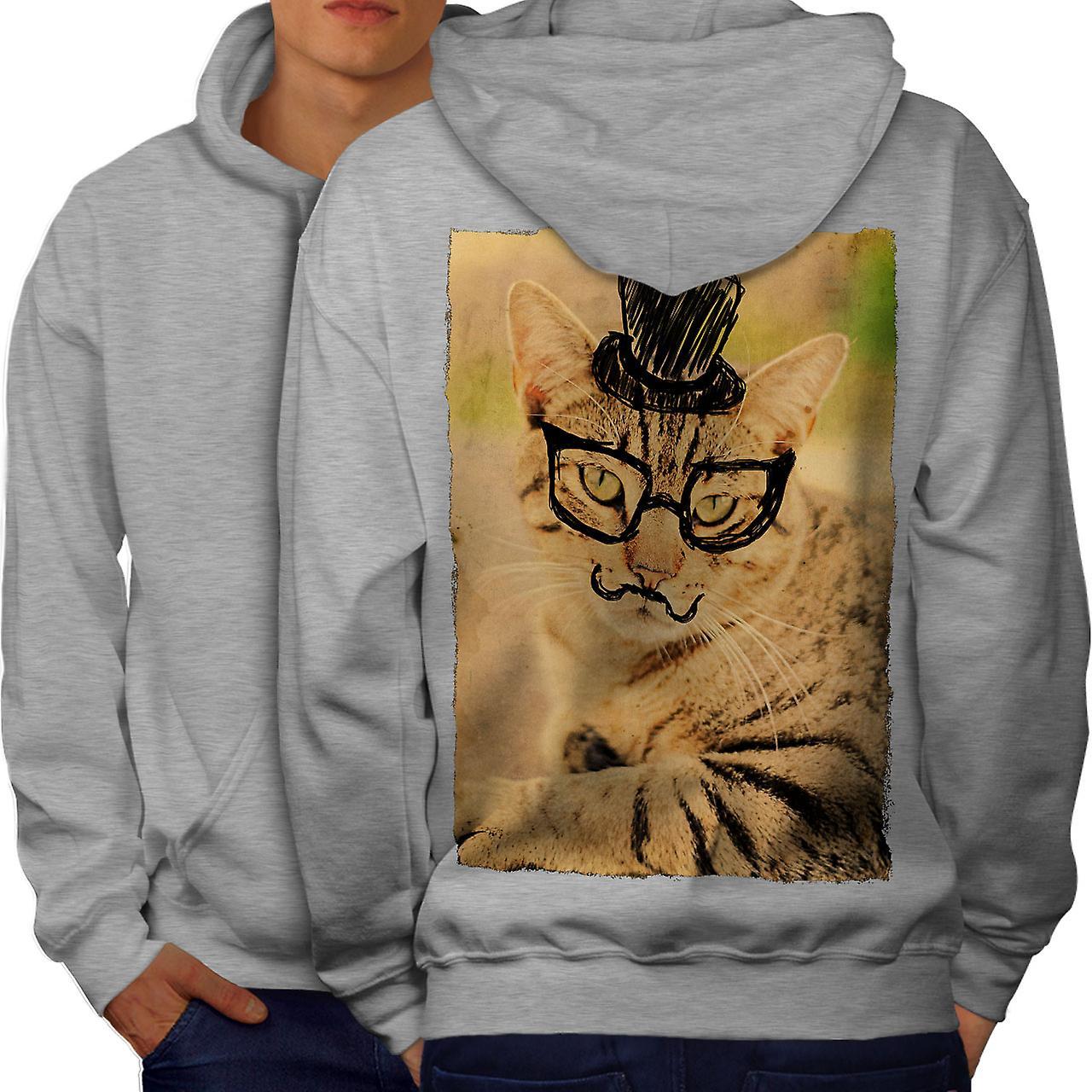 Hippie Kitty Cute Cat Men GreyHoodie Back | Wellcoda