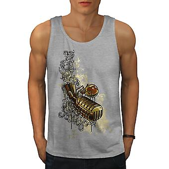 Microphone Sing Music Men GreyTank Top | Wellcoda
